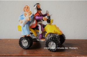 Crèche bérislienne, Joseph, Marie et Jesus sur un quad